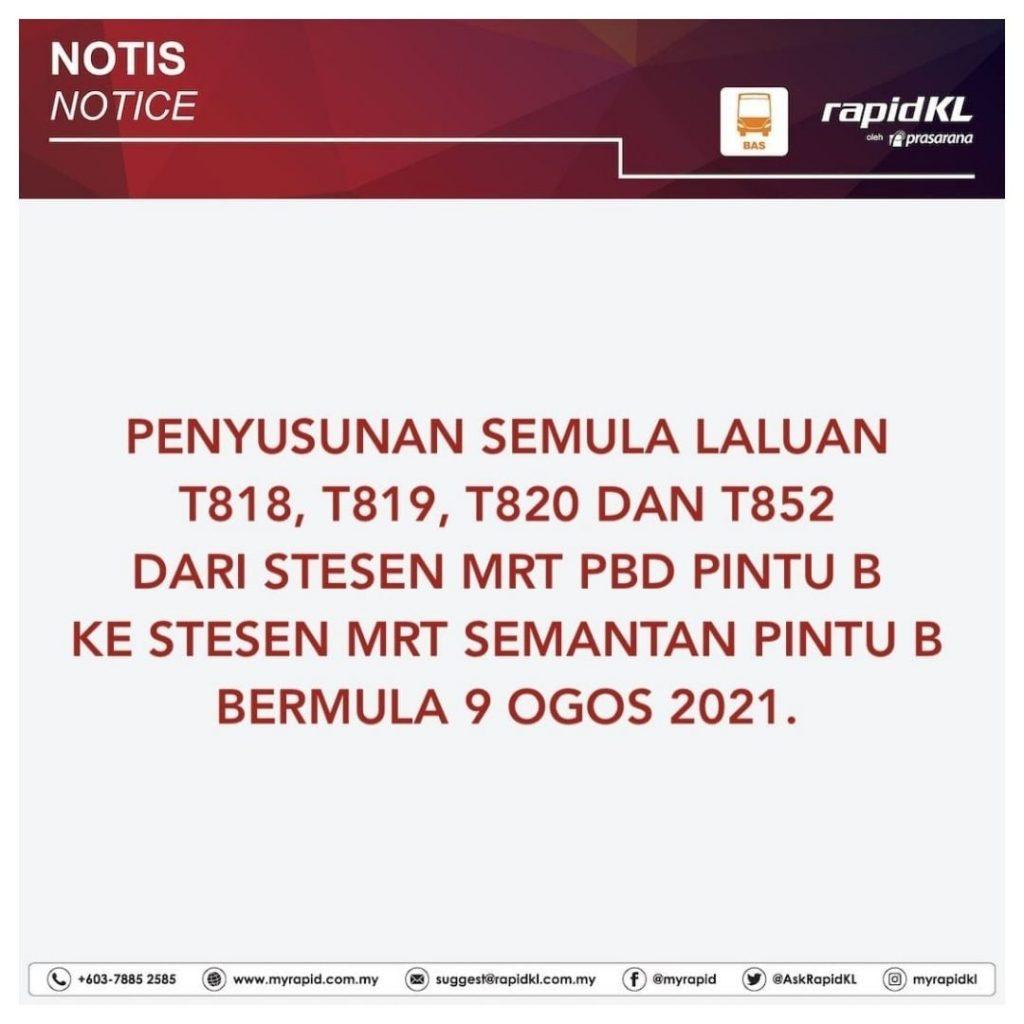 PEMINDAHAN SEMENTARA LALUAN T818, T819, T820 & T852